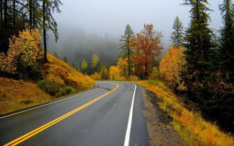 路,山,秋天的早晨