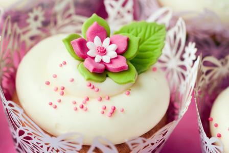 粉红色,迷你,甜,甜点