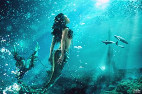 深渊,海,光,射线,美人鱼,鱼,海豚,气泡