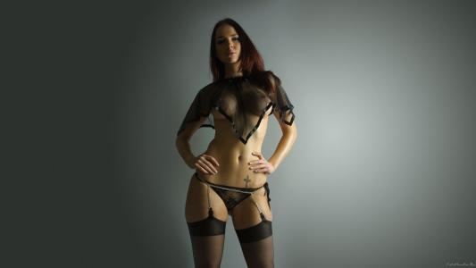模型,黑发,透明内衣,纹身
