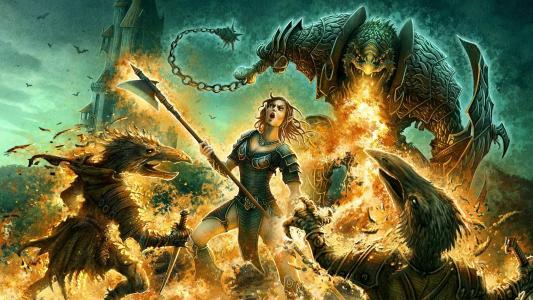 勇士,龙,火焰