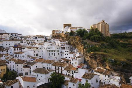 西班牙,安达卢西亚,岩石,建筑物,美女,天空,绿色,酷