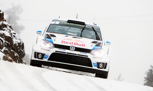 大众,优化,波罗,WRC,拉力赛,红牛,前,雪,白,运动