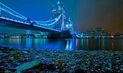 晚上,桥,河,城市,灯,照明,建筑物,伦敦,美容