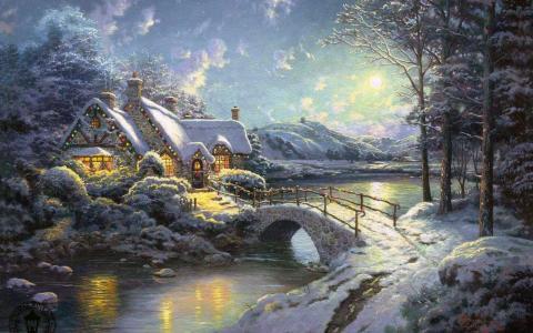 冬天,圣诞节,月光,森林,房子,河,桥,托马斯·金凯德