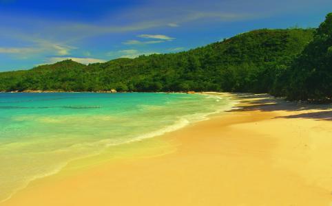 地球上的天堂,海洋,沙滩,绿叶