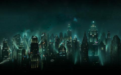 幻想,城市,艺术,黑暗的背景