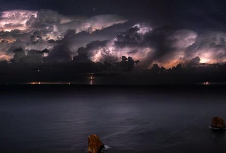 海洋,天空,云,闪电,天堂别致,美女,地平线