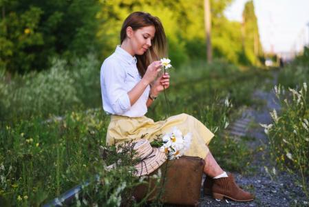 女孩,铁路,鲜花,肖像,摄影师,奥尔加同性恋