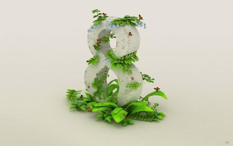 八,绿色,植物,3月8日,背景