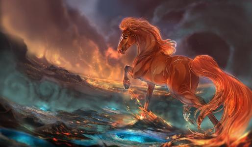 火,马,幻想