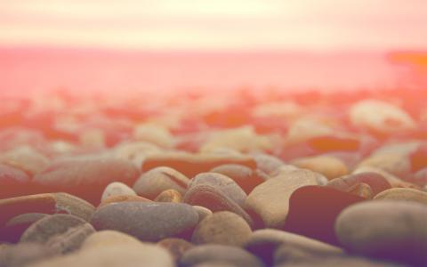 宏,石头,地平线,浅色背景,石头