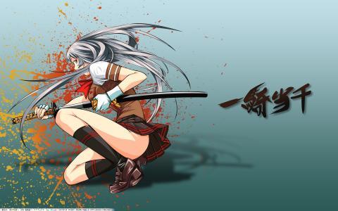 裙子,女孩,武士刀,一骑当千,剑
