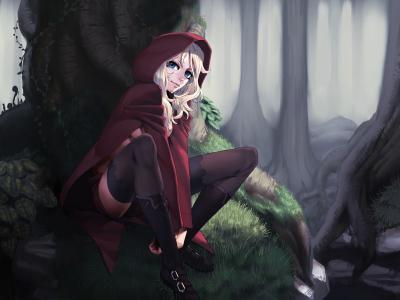 小红帽,艺术,红帽子,童话,动漫,森林,树木