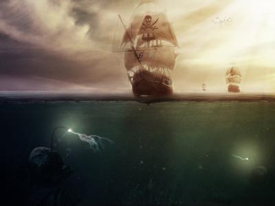 海,怪物,海盗,船