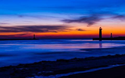 美国,密歇根州,湖,岸,灯塔,晚上,橙色,日落,蓝色,天空,云