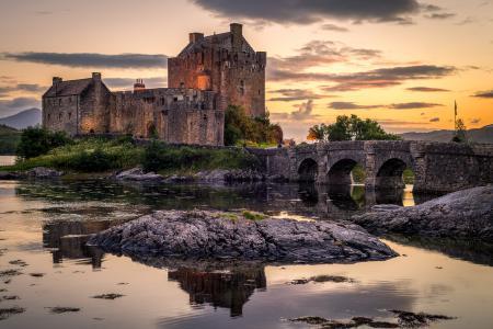 苏格兰,城堡,池塘,桥梁,Eilean Donan城堡,城市