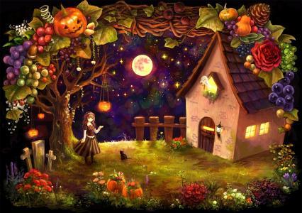 房子,女孩,万圣节,收获,南瓜,十字架,小屋
