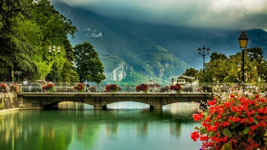 阿尔卑斯山,城市,阿讷西,阿讷西,法国,运河,桥,灯
