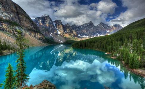 班夫国家公园,冰Lake湖,高山,树木,景观,湖泊