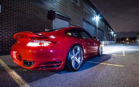 保时捷,911,涡轮,优化,红色,轮辋,车轮,晚上,灯,发光,车库