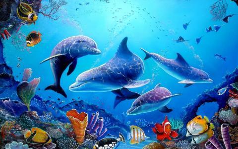 海豚,鱼,海,蓝色