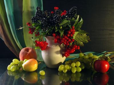 水果,山灰,花瓶