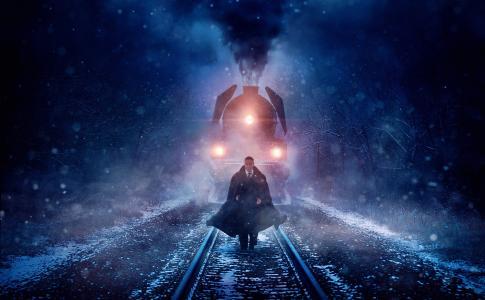 铁路,黑暗的背景,字符,机车
