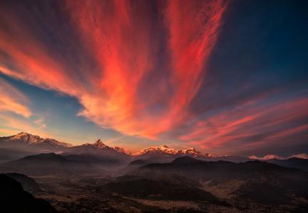 西藏,山,日落,天空,全景