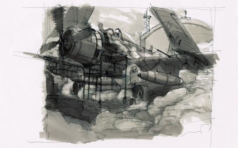 飞机,绘图,素描,铅笔