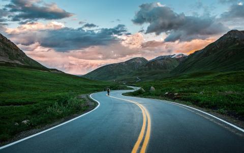 路,山,阿拉斯加,自然
