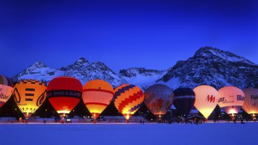 气球,飞行,自然,山,冬天,晚上