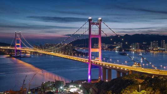 桥,晚上,湾,灯