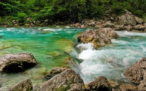 河流,急流,石头,果汁,文字