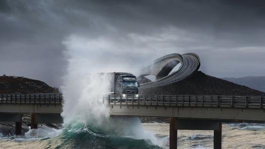 卡车,桥,权力,权力,水,天空,云,波浪,美女