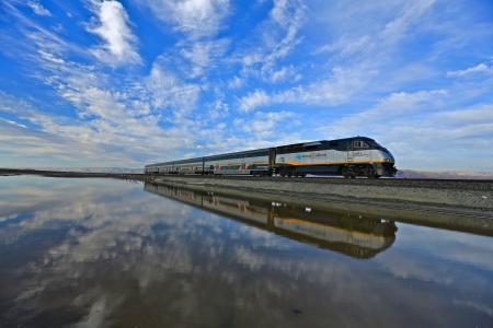 天空,火车,吊桥,水,美国,反思,加利福尼亚州