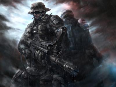 士兵,panamka,雪茄,背部,背部,特种部队,突击步枪,防弹背心