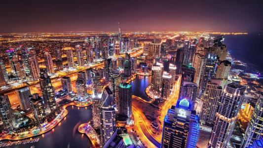 城市,迪拜,阿联酋,晚上,灯光