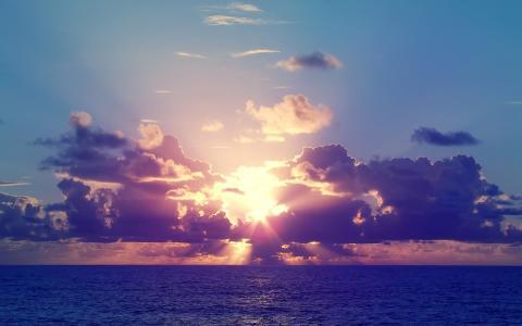 海,云,天空,太阳,日落