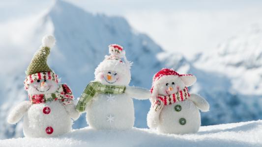 新年,冬天,雪,雪人,玩具