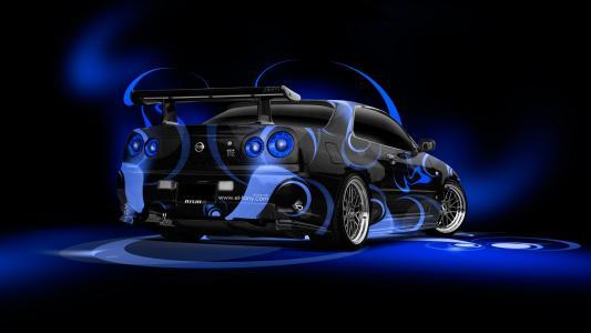 日本天际线GTR R34,JDM,摘要,气象学,蓝色,颜色,风格,托尼·柯恩,Photoshop,风格,气象学,日产,天际线,GTR,P34,蓝色