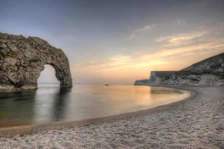 日落,海,岩石,拱,岸