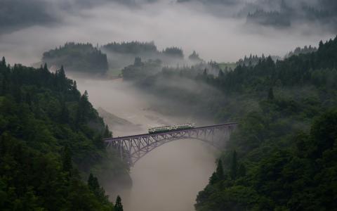 火车,风景,照片,桥,自然,山,雾,河