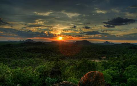 非洲日落,天空,日落,太阳,树木
