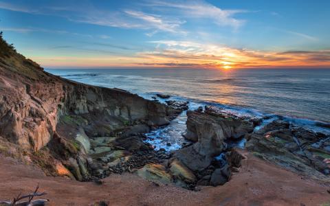 日落,沿海,海洋,俄勒冈州,太平洋,海洋,性质
