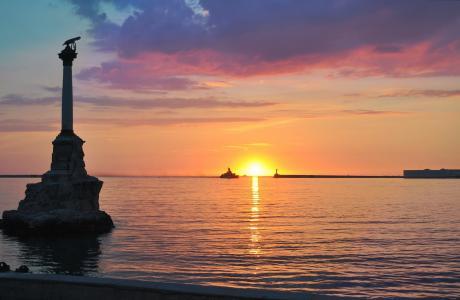 塞瓦斯托波尔,纪念碑,淹没,船舶,海,日落