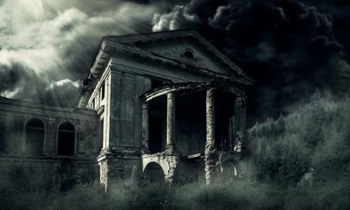 宅基地,废墟,晚上,月亮,暮光之城