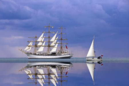 平静的大海,帆船希望,游艇,天空,日进尤金