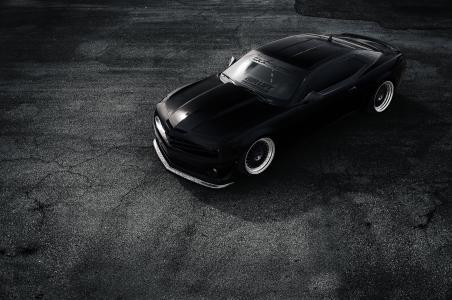 雪佛兰,超级跑车,黑色和白色背景