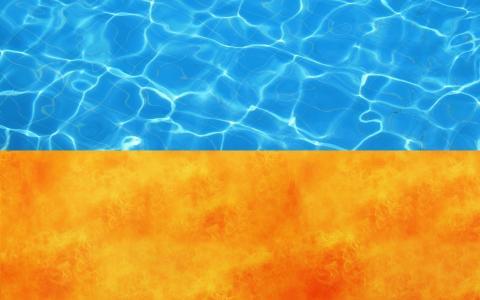 国旗,火焰,乌克兰,水